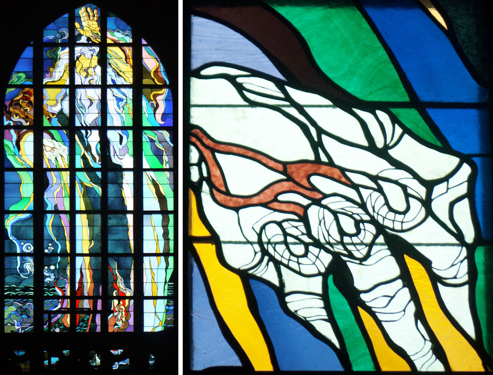 West window, 1901 (astonishingly) and detail of God's right hand.