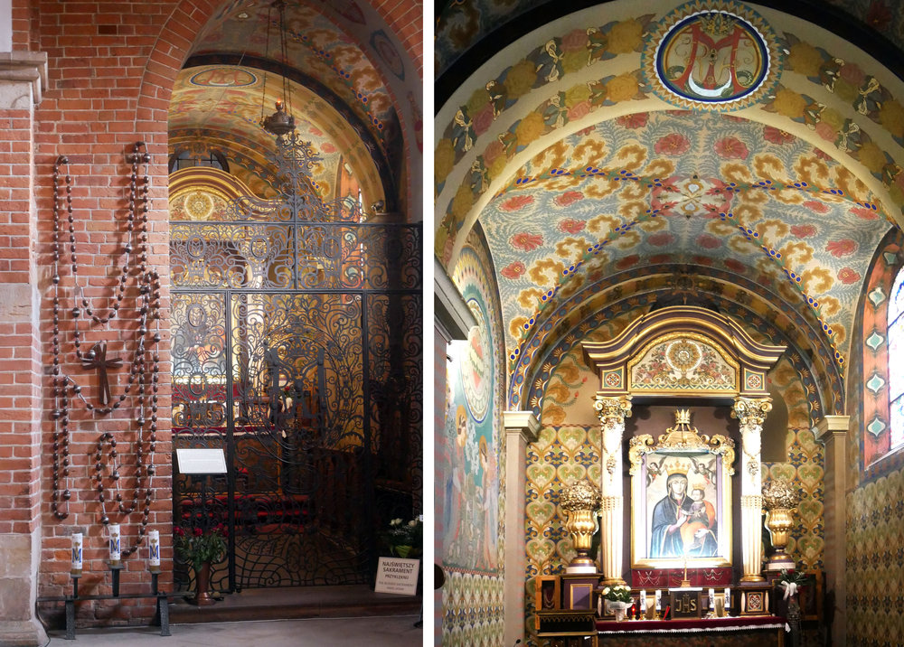 The side chapel in the church was closed, but offered tantalising glimpse of Frycz's wall paintings through the grille.