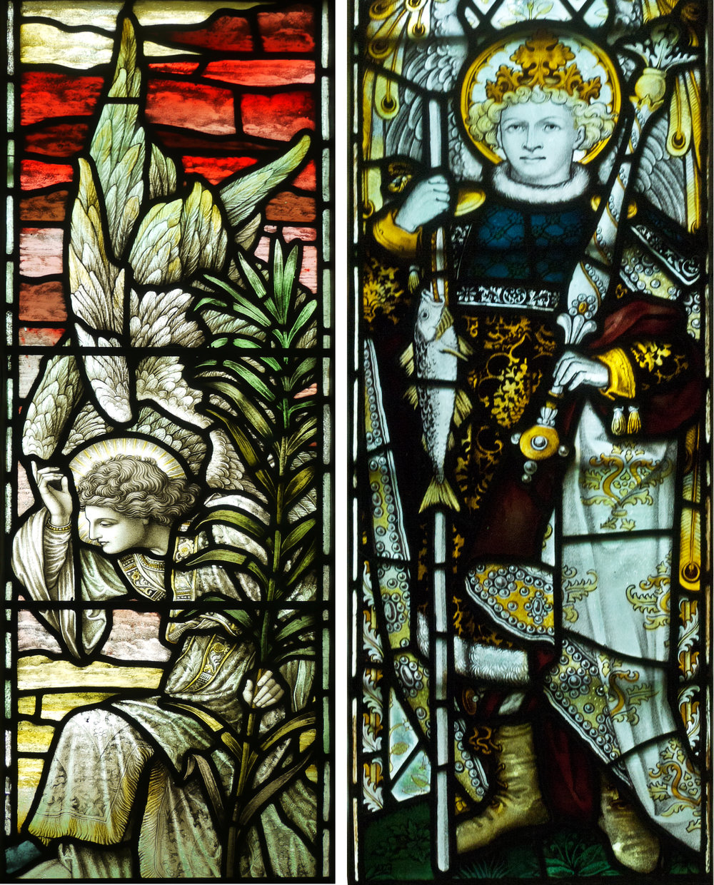Left: great painting in detail from HBB window.  Right: St Raphael from the Kempe window