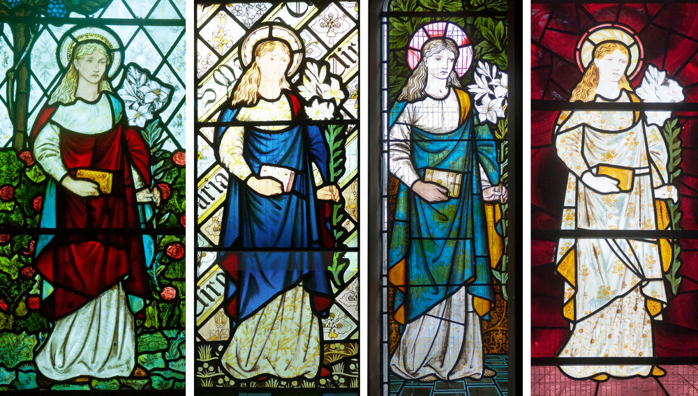 Marys left to right: St. Martin's Low Marple 1873, St. Nicholas Beaudesert 1865, St. Mary's Sopworth 1873, St. Martin-on-the-Hill Scarborough 1868.