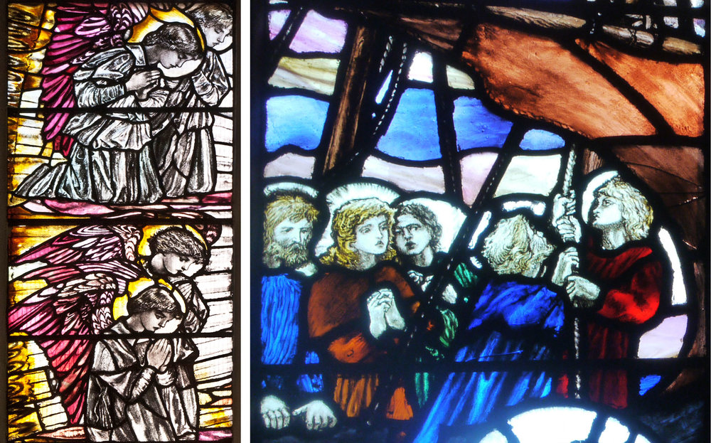 Details from Christopher Whall windows, Leicester Cathedral 1920 (left), Low Marple (right)