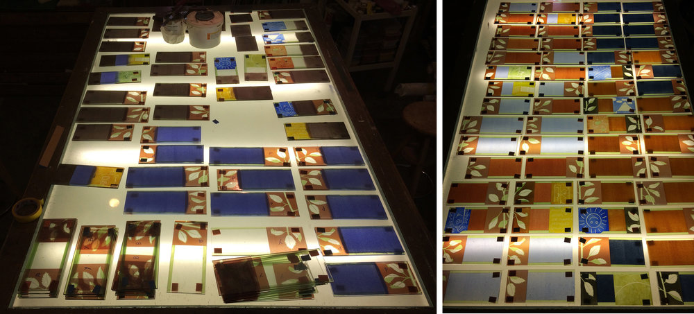 Left: first batch of glass pieces on the lightbox before second firing.  Right: all the pieces have been painted twice, half of them still need their second firing.