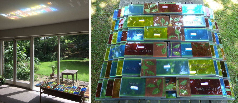 Reflected colours: inside the studio (left),      in the garden (right).