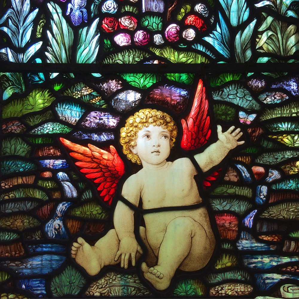 Detail of 1919 window designed by Edward Prynne, made by J.Jennings.