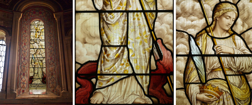 Left hand window, St Margaret & details, HB&B 1888