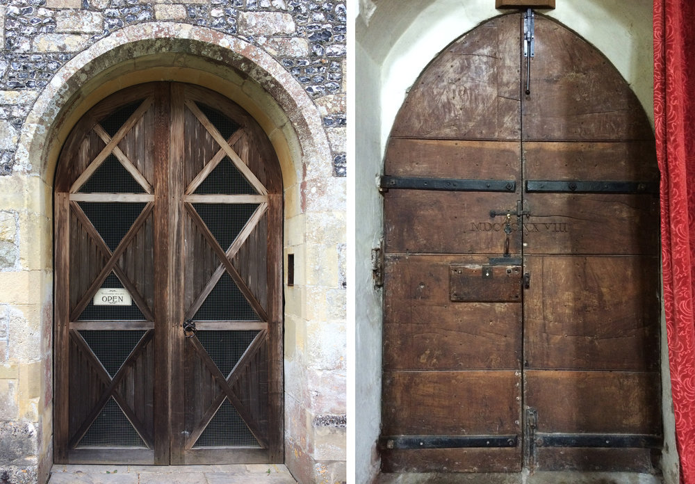 South porch doors: Left St Michael & All Angels, Figheldean: Right All Saints, Fittleton