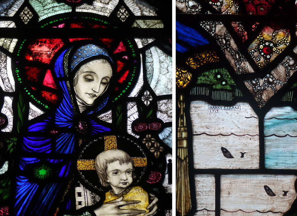 Wexford details - left: faces of the Madonna and child, right: Harry Clarke's signature and fish in the sea