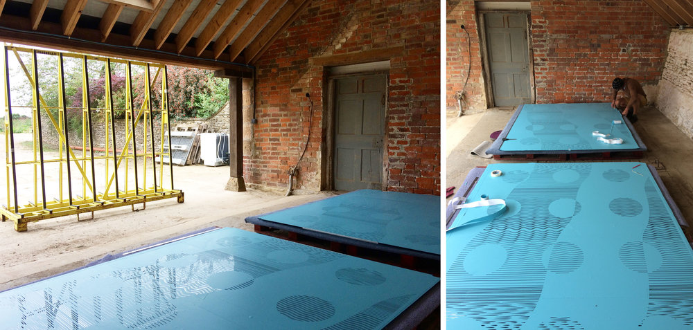 Glass doors covered with vinyl stencils under a carport near Malmesbury.