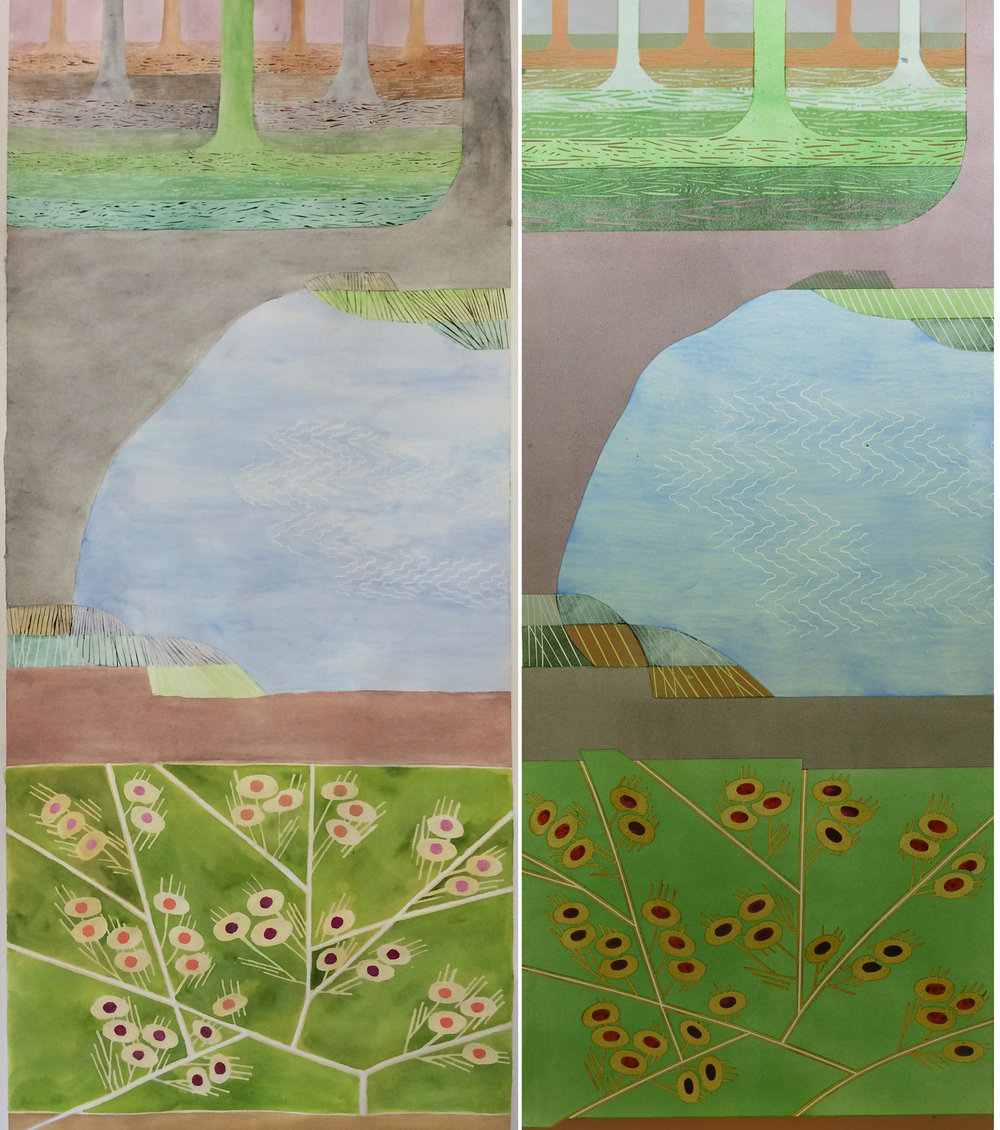 One of four panels for a private house, 1200 x 460 mm. Left watercolour, right glass.
