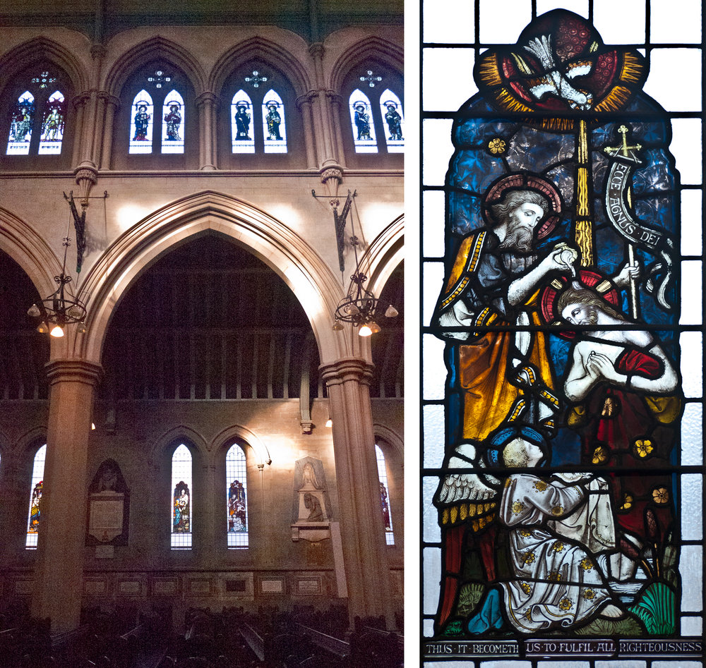 Left: nave & clerestory windows. Right: baptism window.