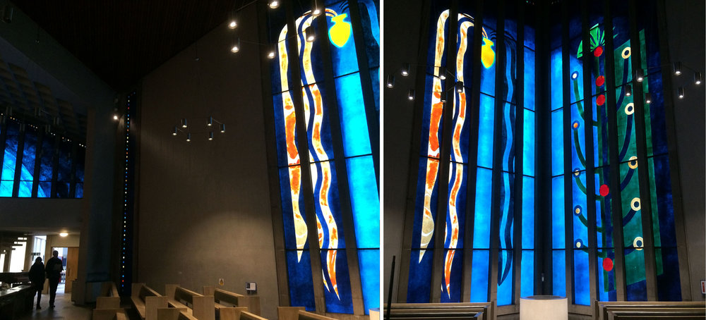 Inside All Saints: The River of Life and The Tree of Life - west windows.