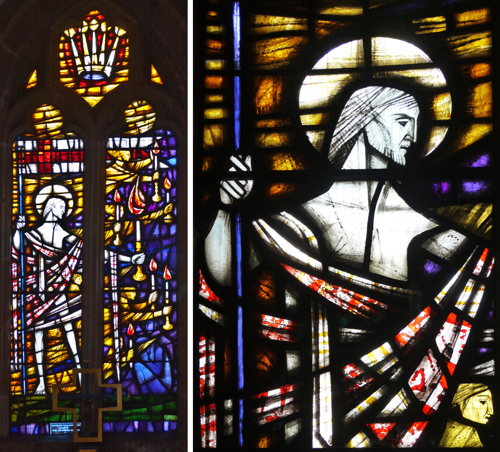 Window of the risen Christ and detail showing the little gold head, John Hayward, 1968.