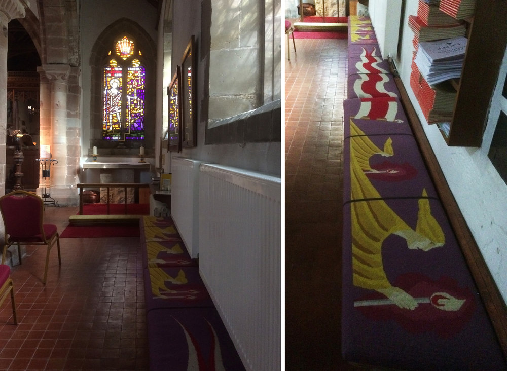 View of the church interior, looking east from the entrance door, showing long bench on the south wall.