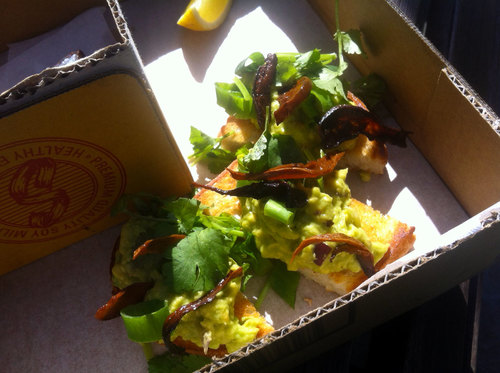 Blue Buddah: Smashed avocado on organic sourdough w/ mushroom bacon strips ($12)
