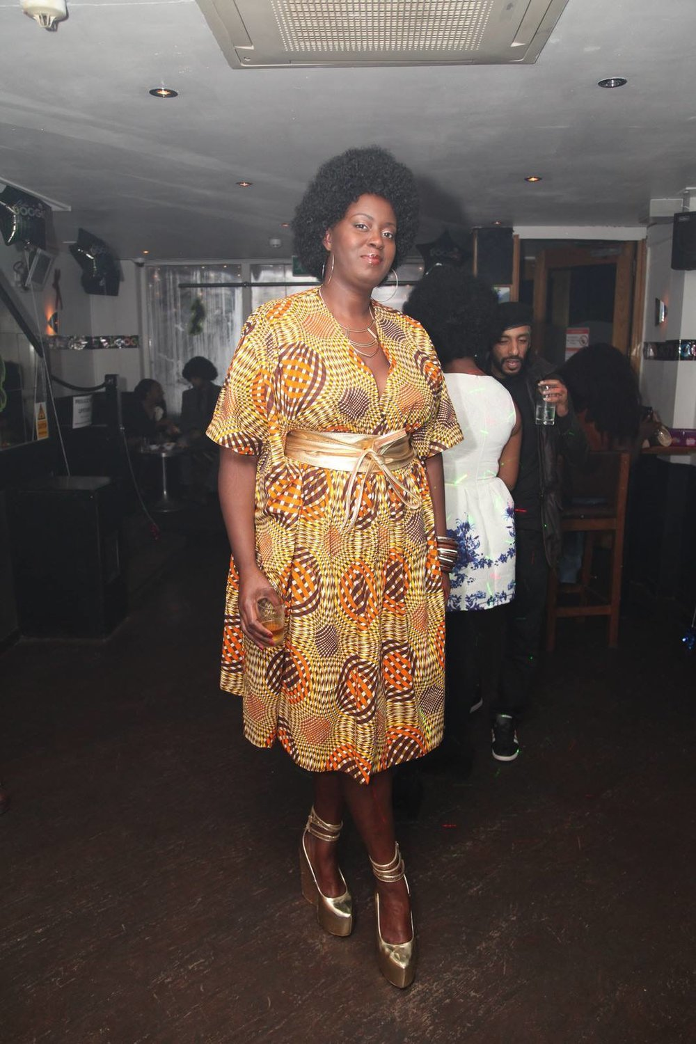 70s style Bespoke Kaftan dress: Reddskin UK. Gold leather Obi belt: Love YaaYaa. Black Girl Magic: Models own.