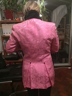 """The back is wonderful! Let me try it on so you can see the seams!"""