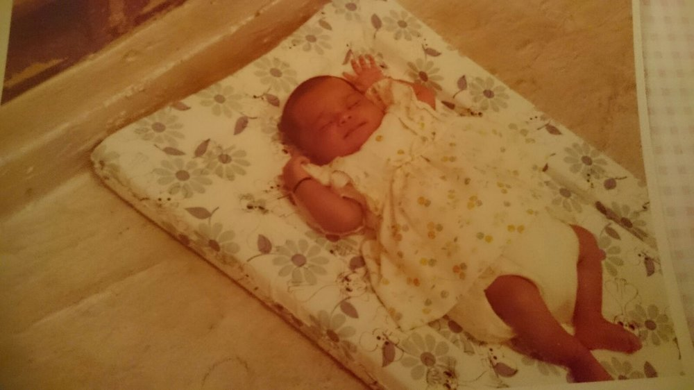 Cute alert 2! Tiny baby Shivanti in *that* dress decades earlier.