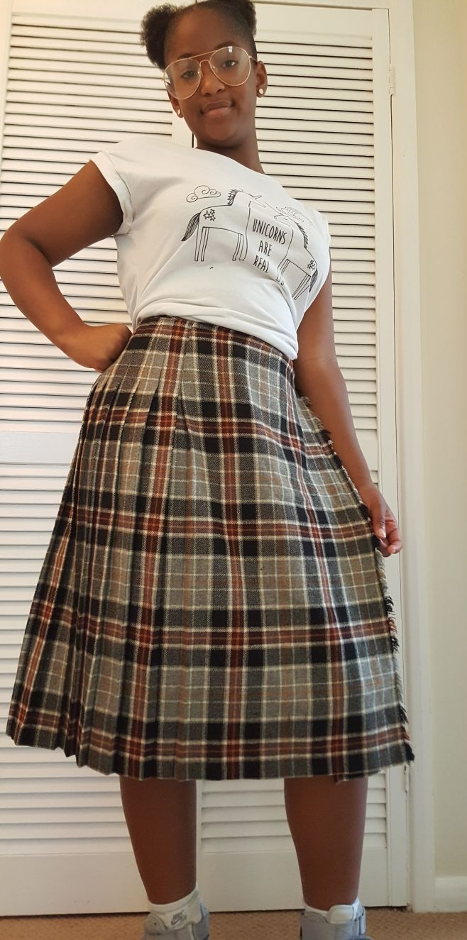 Alison's teenage daughter, Jaya, styling out in her grandmothers woollen kilt.