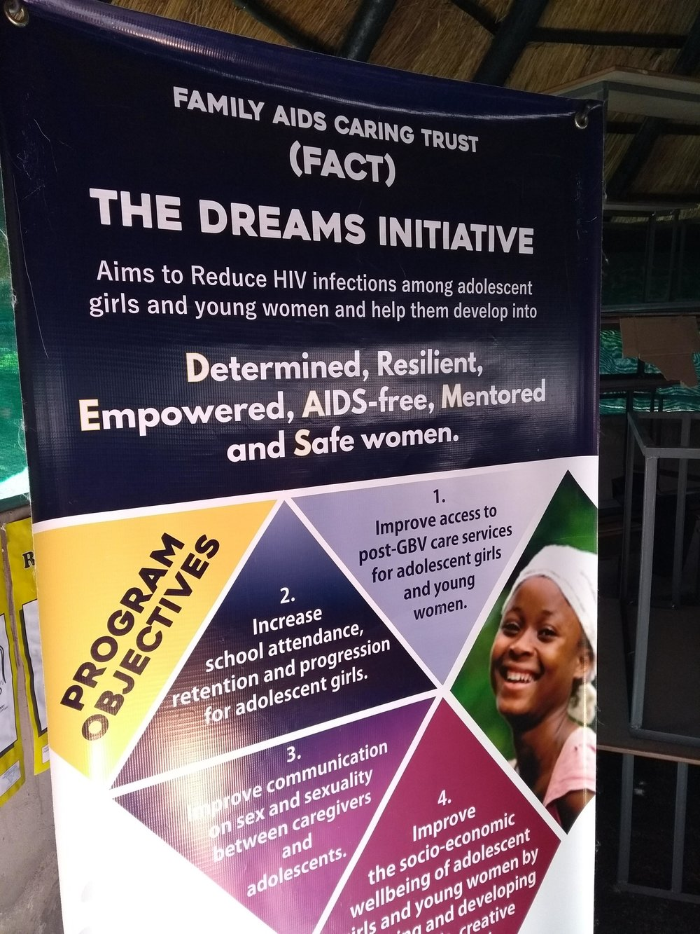 D.R.E.A.M.S initiative poster in the main meeting room at FACT.