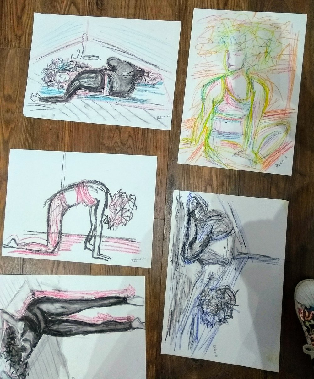 Having not participated in an art class since my teens I took part in a live yoga drawing session with Artist Kim Myers and bendy yoga icon Sanchia Legister. Highly recommend. More please! October 2018.