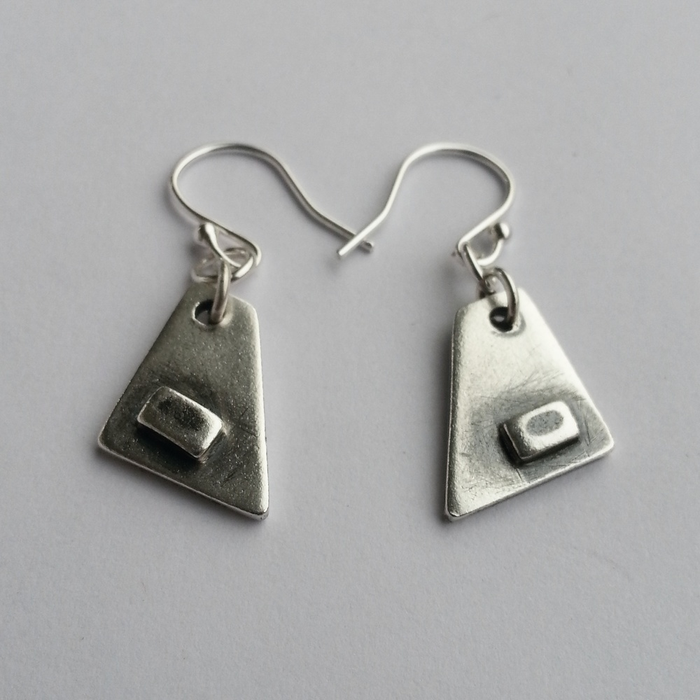 Simple Modern Geometric Earrings, Unique Handcrafted from Recycled Silver. Eco-friendly