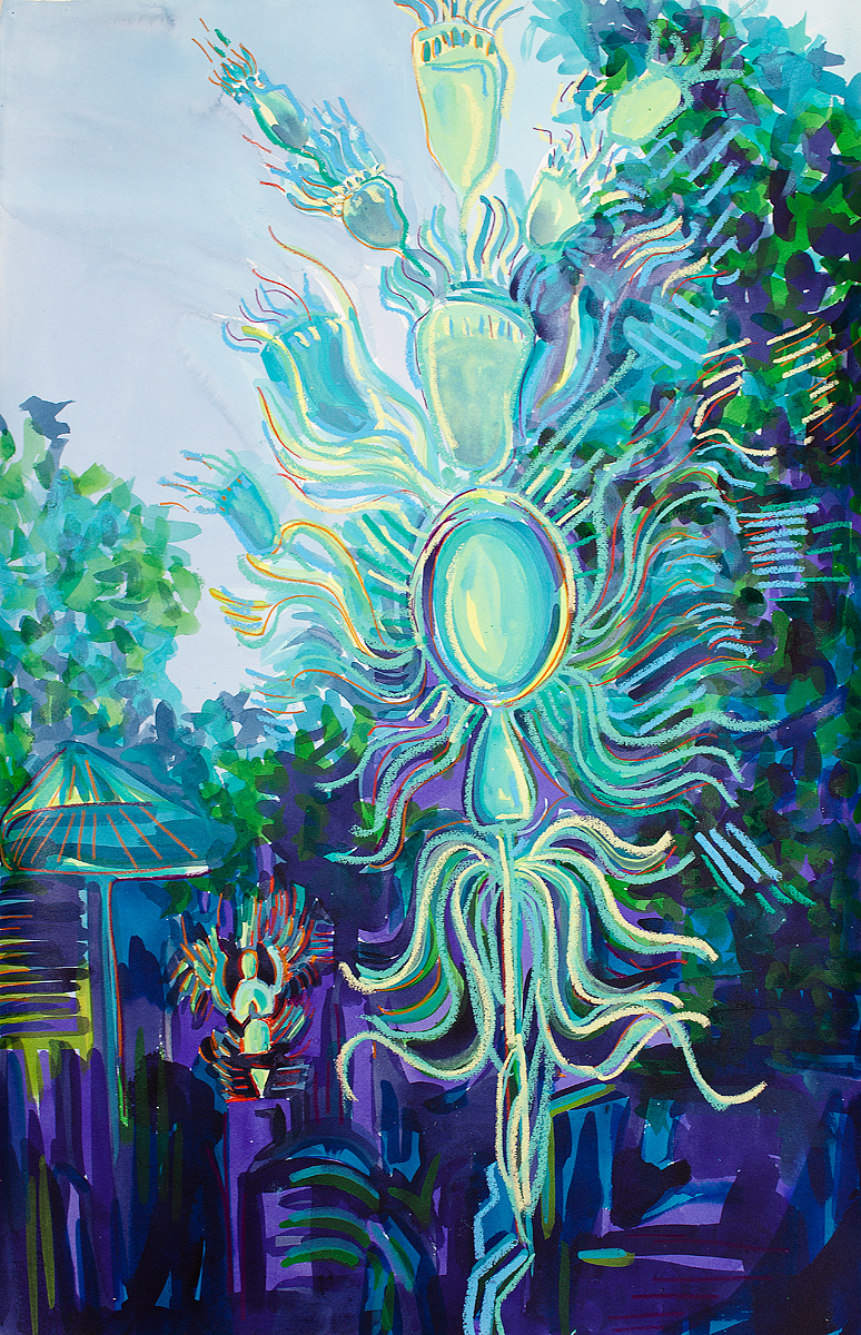 "PURPLE PHOENIX RISING   40"" x 26"""