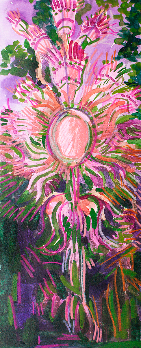 "STUDY FOR PHOENIX RISING PINK AND GREEN   10 1/4"" x 3 3/4"""