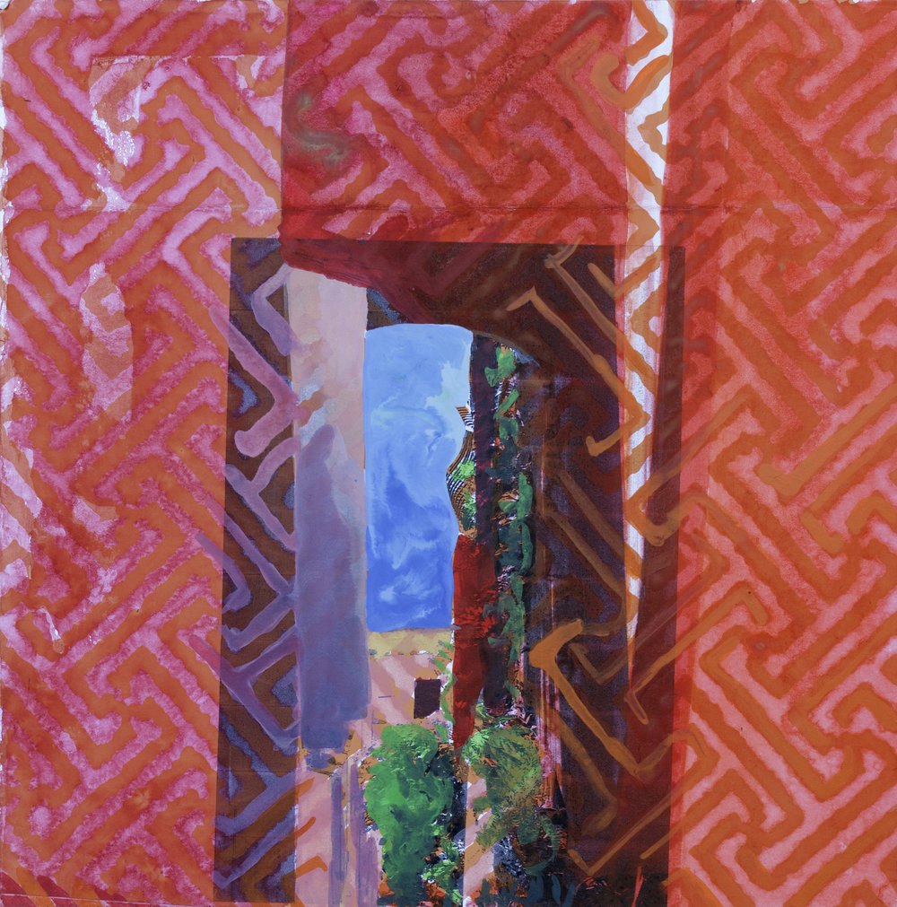 "HOCKNEY'S VIEW IN POSITANO   8"" x 8"""