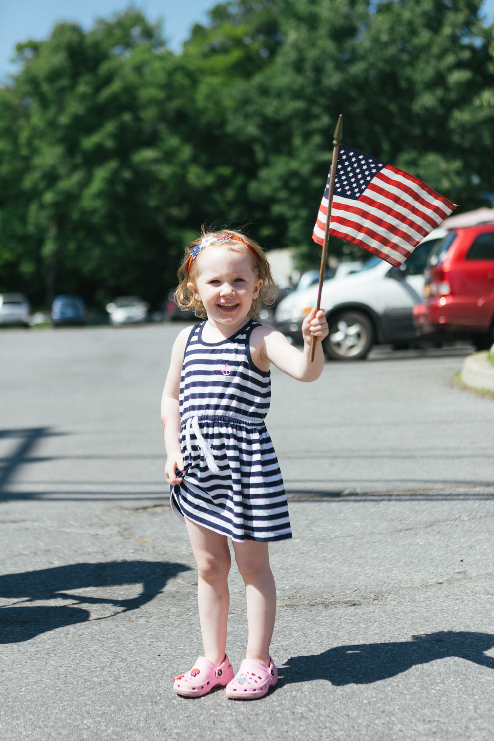 A patriotic young girl celebrates before the parade in Tannersville.jpg