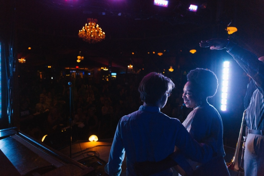Chris Pattishall and Charenee Wade perform at the Bard Spiegeltent during the third annual Catskill Jazz Factory artist residency (August, 2014). Photo (c) Eberhardt Smith LLC, 2014.