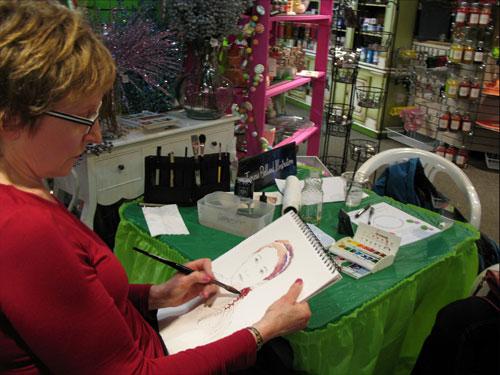 Tamara Belland Quick portraits in ink & watercolor email Images