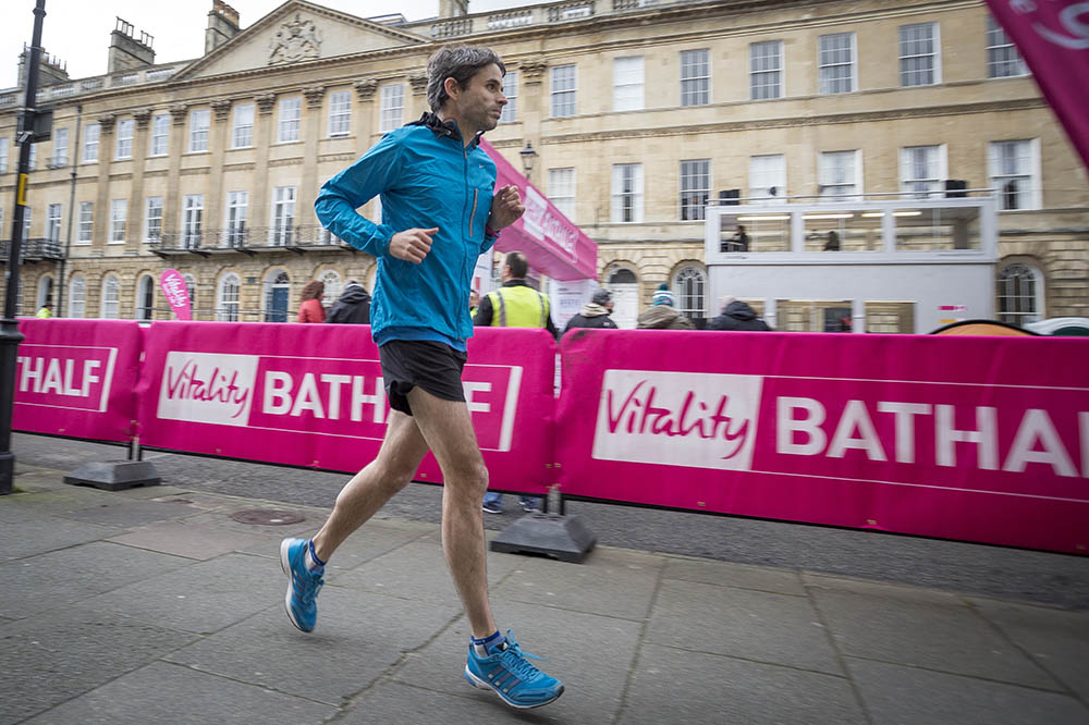 Blogger Duncan Edwards warming up before Vitality Bath Half Marathon. 1st March 2015.