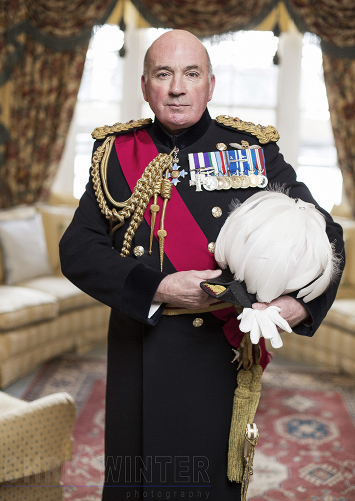 Portraits of Lord Richard Dannatt, Constable of the Tower of London, in the lounge of the Queen's House.