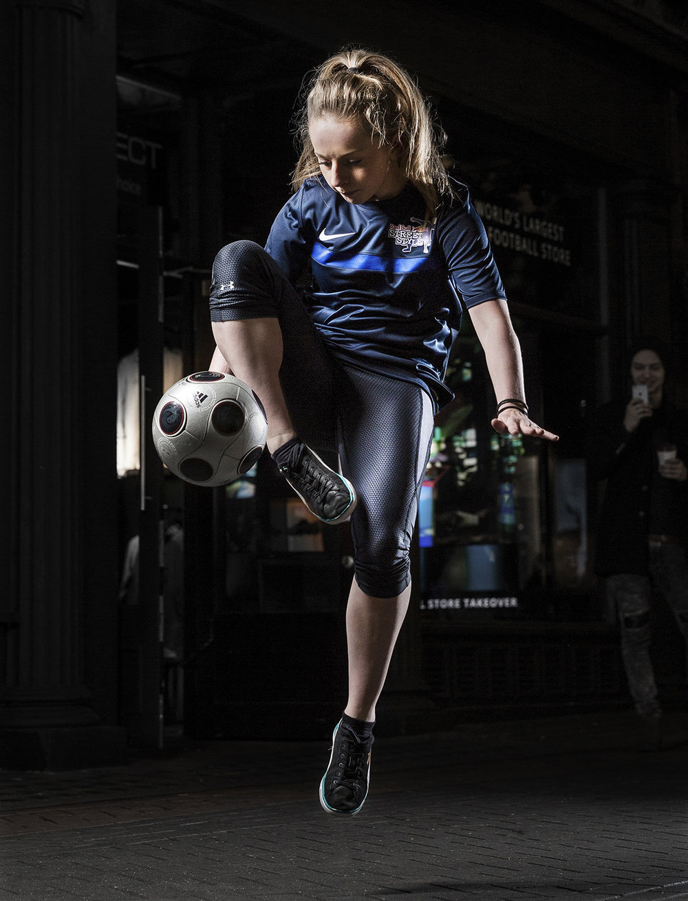 Freestyle footballers at the LDN19 store in London.