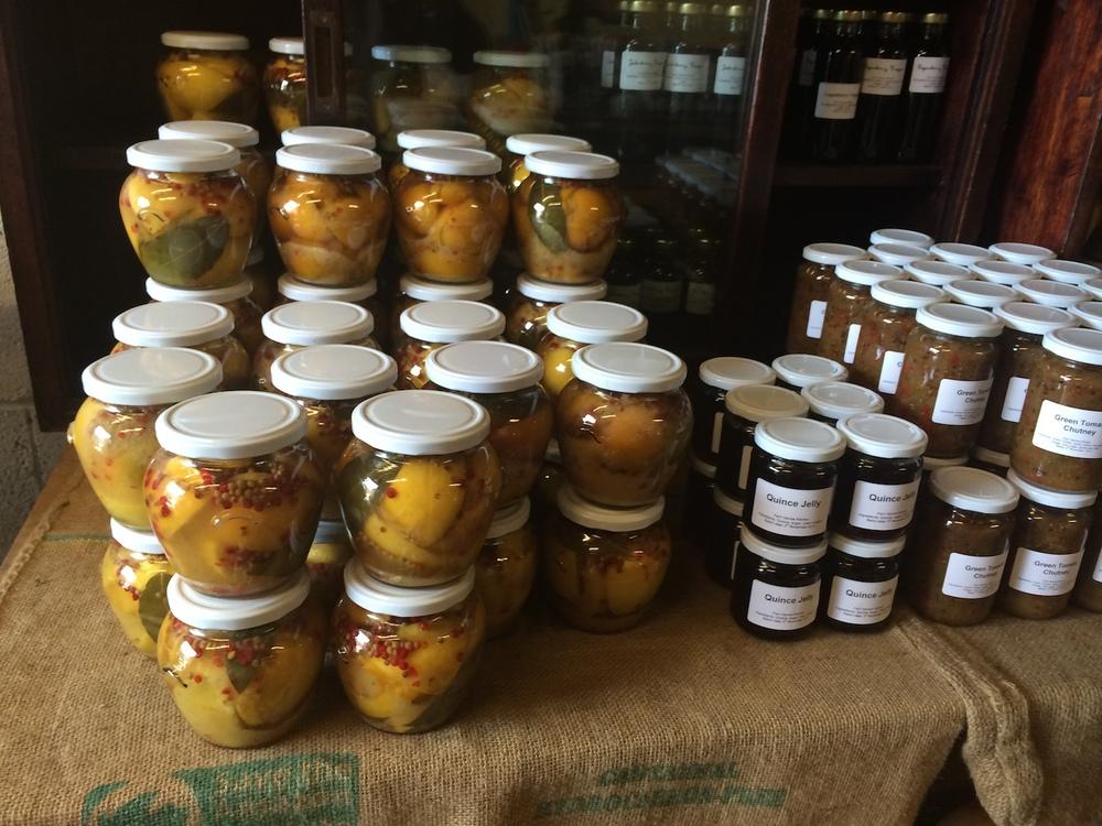 Preserved lemons, artisanal chutneys, jams