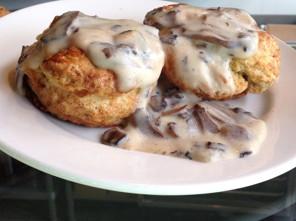 Flour & Co. biscuits with mushroom gravy