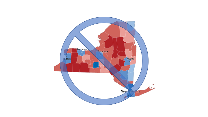 2016 New York State Presidential Results, by Countyvia New York Times