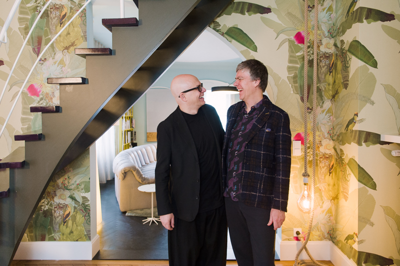 Peter Ippolito (left) and Stefan Gabel (right) in their home in Stuttgart.   