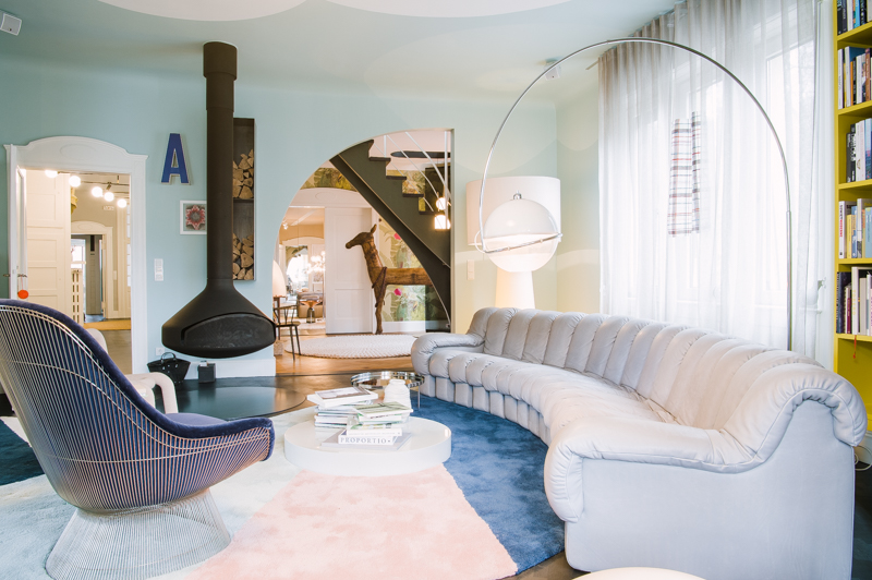 The living room in Peter Ippolito's and Stefan Gabel's home in Stuttgart.    