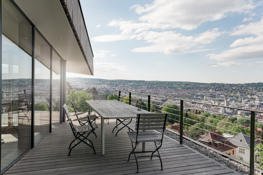 Top floor terrasse with views of Stuttgart.CREDIT: Clara Tuma for The Wall Street JournalBALANCE_Behnisch