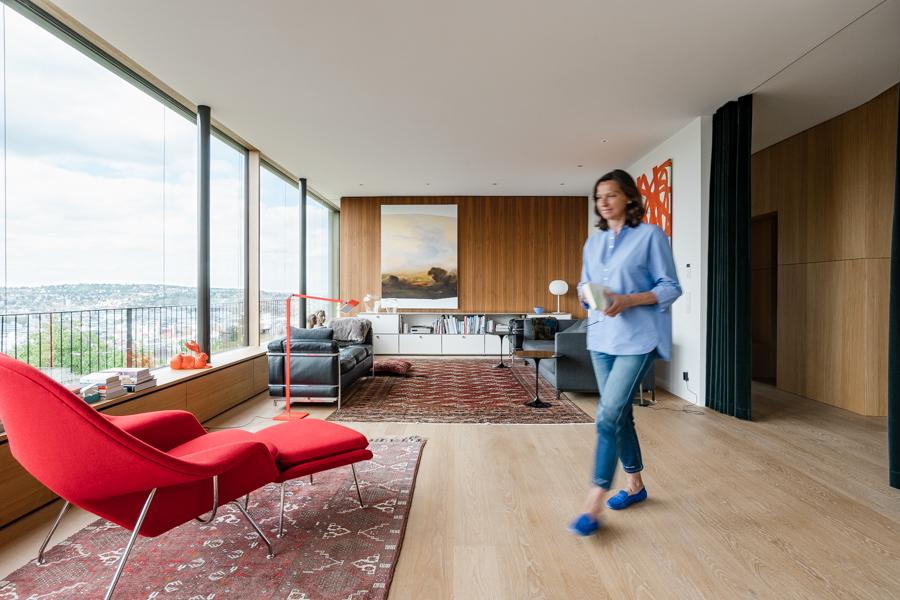 Petra Behnisch walking through the living room.CREDIT: Clara Tuma for The Wall Street JournalBALANCE_Behnisch