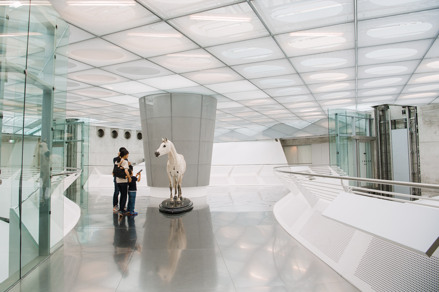 The first piece in the exhibit is a horse, greeting visitors as they get out of the elevators on the top floor.
