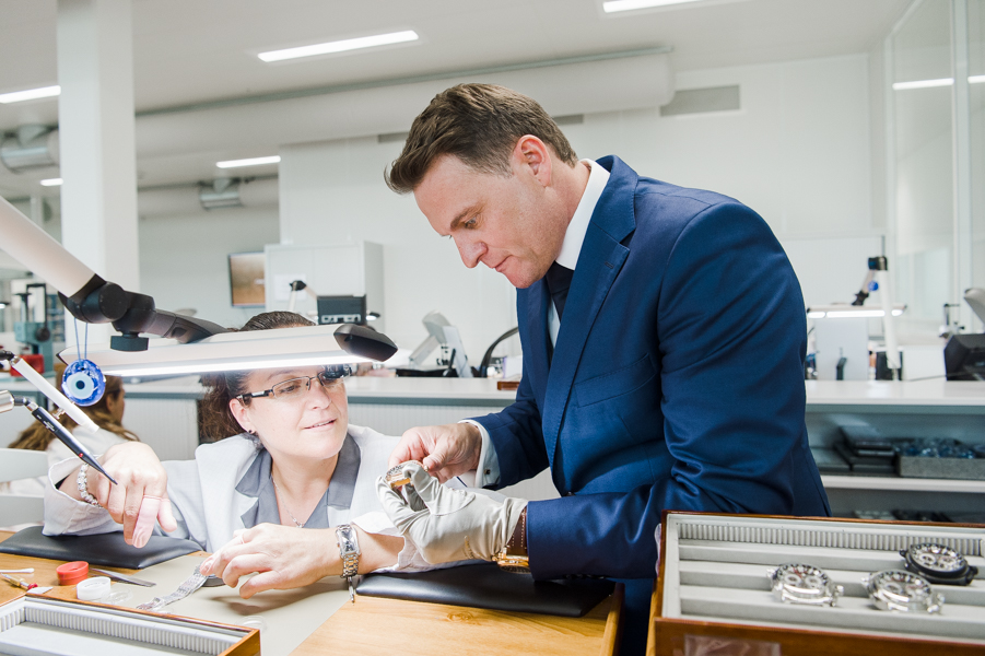 Sascha Moeri, CEO of Carl F. Bucherer, in the production rooms overlooking watch makers at work.