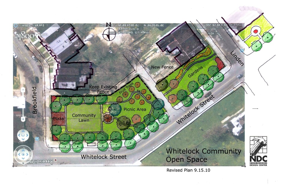 Rough draft of Whitelock site plan (Fall 2010)