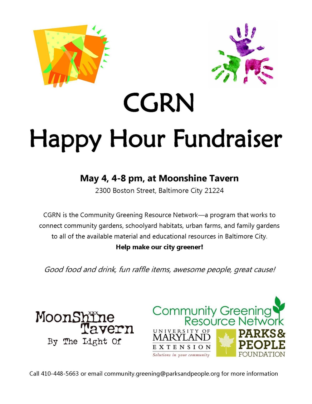 May Happy Hour Fundraiser Moonshine Tavern NON MEMBER flyer