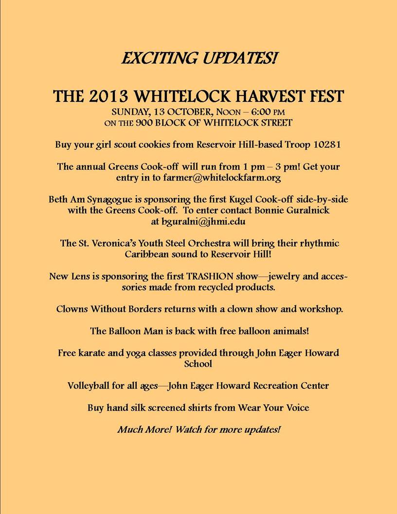 2013 Whitelock Harvest Fest info