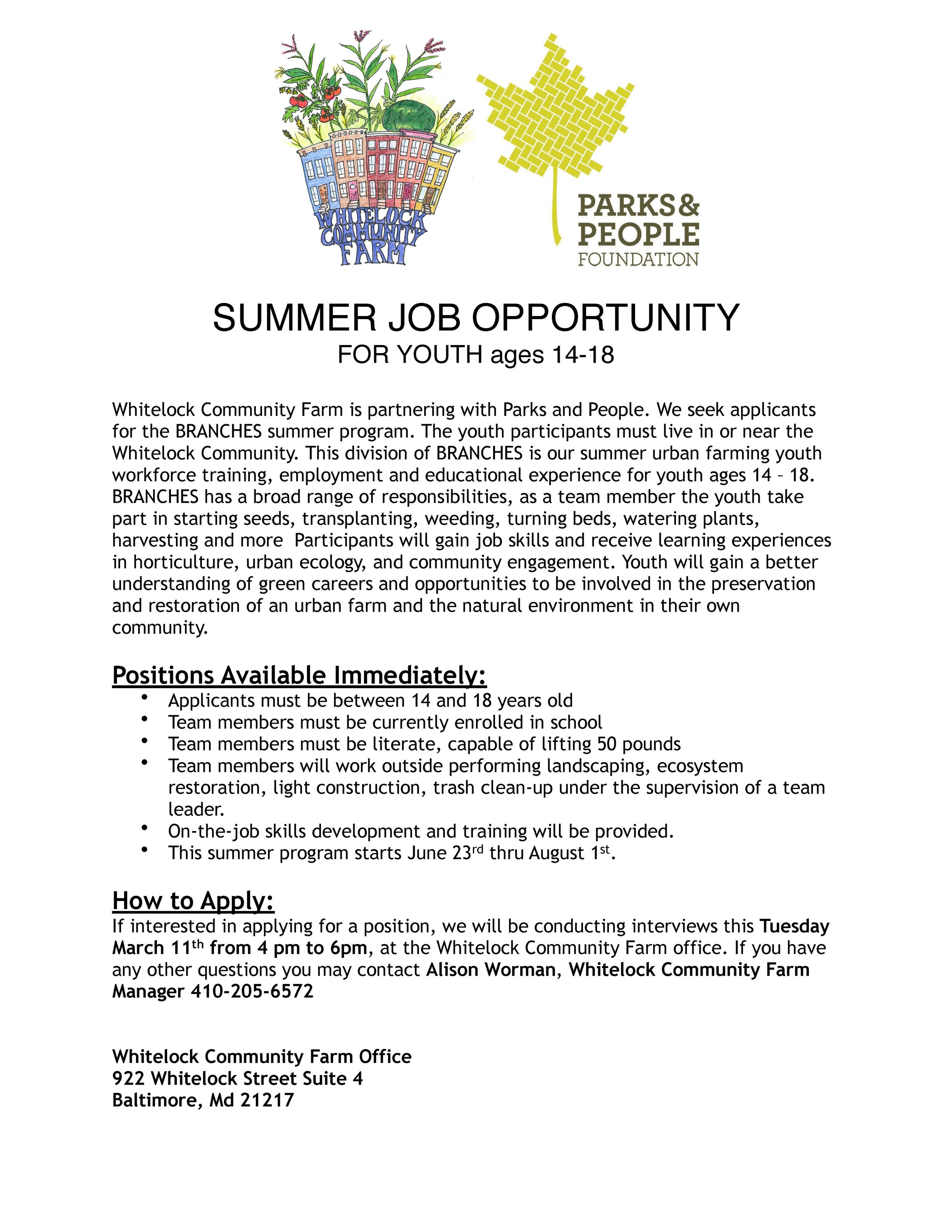 Youth jobs at Whitelock Community Farm this summer