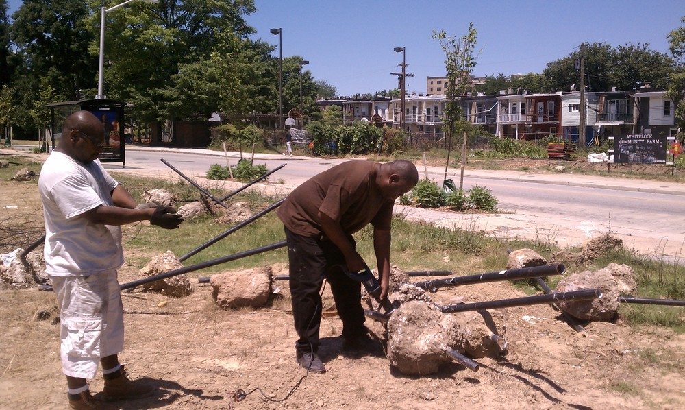 Removing fence posts on the south side of the 900 block of Whitelock St. (Summer 2011)
