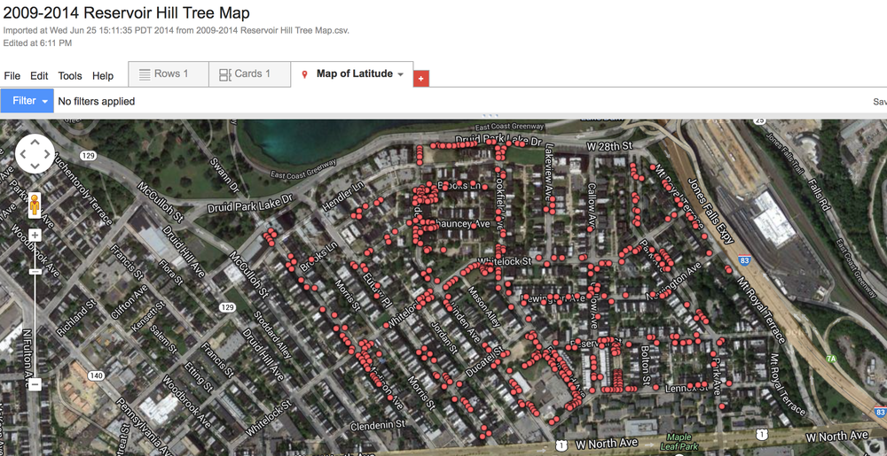 2009-2014 Reservoir Hill tree map (6/26/14)