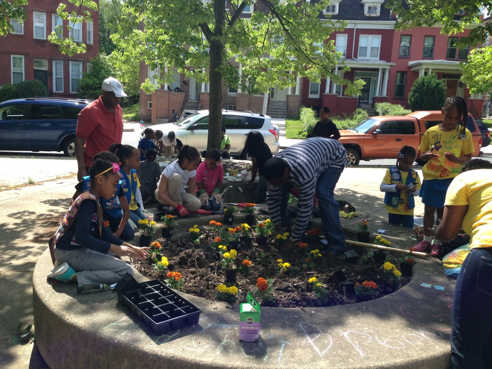 Reservoir Hill Girl Scouts planting in the German Park tree wells (5/18/14)